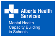 Alberta health Services logo with tagline mental health capacity building in schools